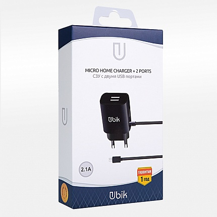 СЗУ USB 2 Sockets+кабель UHS22LB USB iPhone 5 UBIK 2.1/2.1A черный