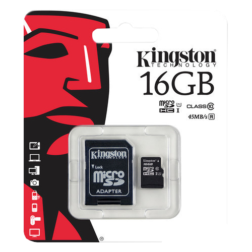 MicroSD 16GB (Class 10) Kingston с адаптером