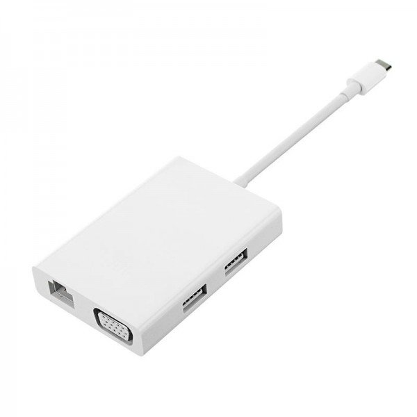 Адаптер USB-C-VGA-HDMI и Gigabit Ethernet белый