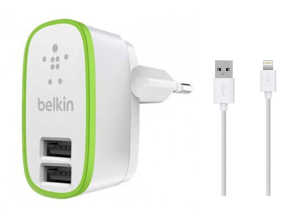 СЗУ USB 2 Sockets+кабель USB iPhone 5 Belkin 2.1/2.1A белый