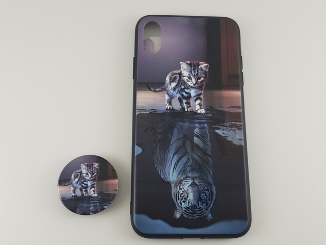 Чехол iPhone XS Max PopSocket Котенок/Тигр пластик/силикон