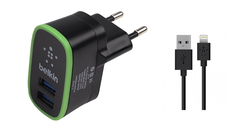 СЗУ USB 2 Sockets+кабель USB iPhone 5 Belkin 2.1/2.1A черный